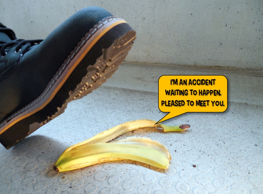 Picture of a banana skin - an accident waiting to happen - from the Bun Karyudo humor blog.